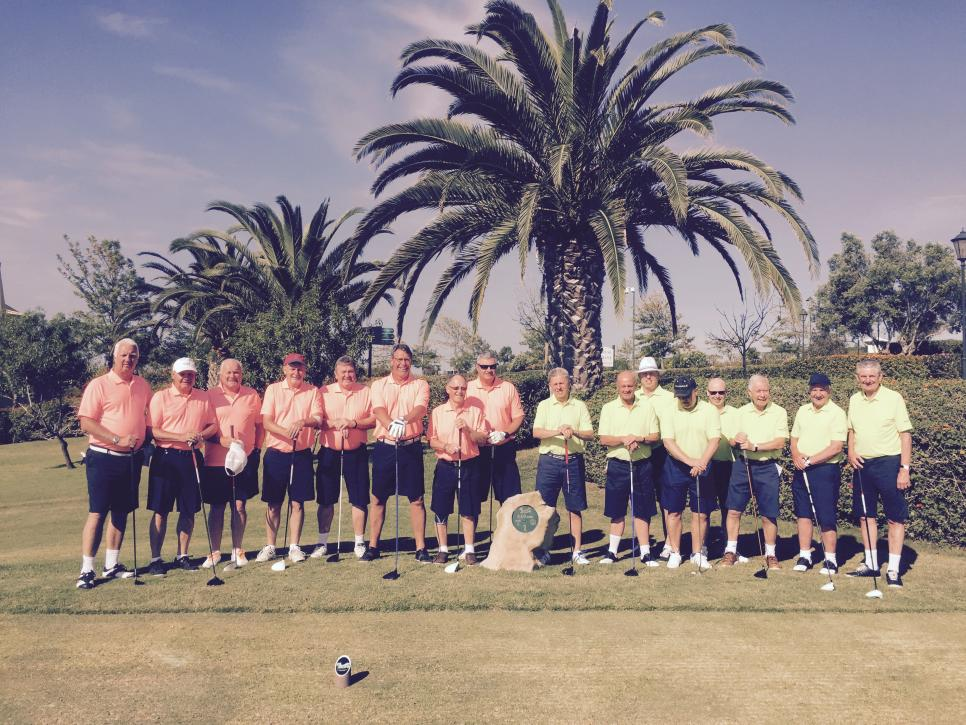 AM GOLF. Don't you just love it when the sun shines brightly from a vivid blue sky, especially for the photo on the postcard to be sent back to the UK. Thanks to Roger Bowd and his party for sharing this team photo from sunny Portugal, all looking very smart in their Golf Teamwear shirts. This particular photo has created great jealousy back here in the office.