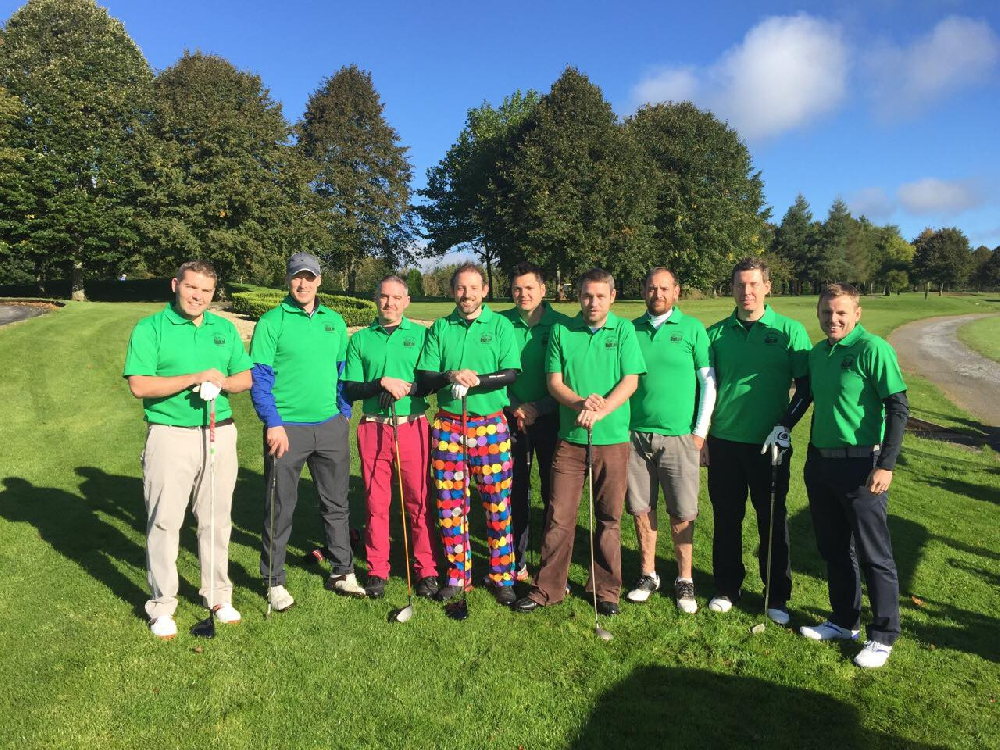 The Old Schoolhouse Golf Society ready to launch into their Ryder Cup style event whilst proving that bright green universally compliments the spectrum of trouser colours! Thanks to Gary Sheriden for sharing this with us.