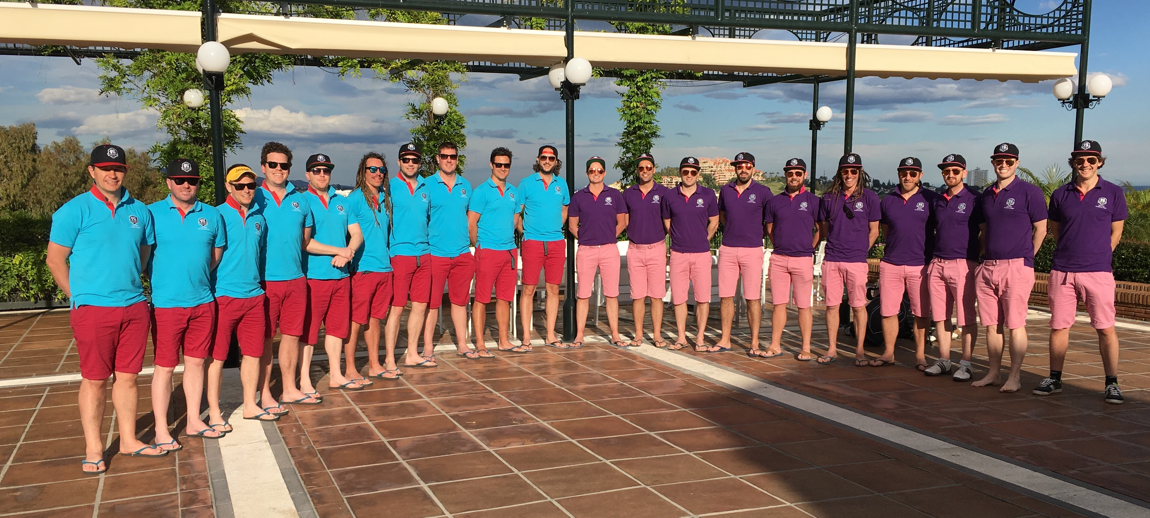 It seems like the competition for impressive team photographs to be includded in our rogues gallery is hotting up. Tim Prentice has kindly let us show this shot of the participants in the 6th Jesse Ryder Cup event at La Quinta in Marbella all ready and raring to go after a wholesome breakfast. It looks like the preparation included a foot massage for the teams with the exception one of the players who still had his golf shoes on from yesterday's round!  Great pic. Thanks for the order guys
